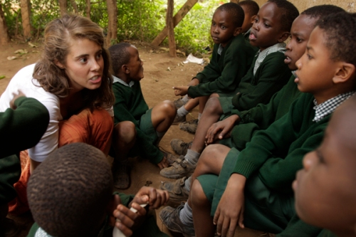 Lucia recounting the tale of sleeping beauty to St. Timothy Students in moshi, Tanzania.